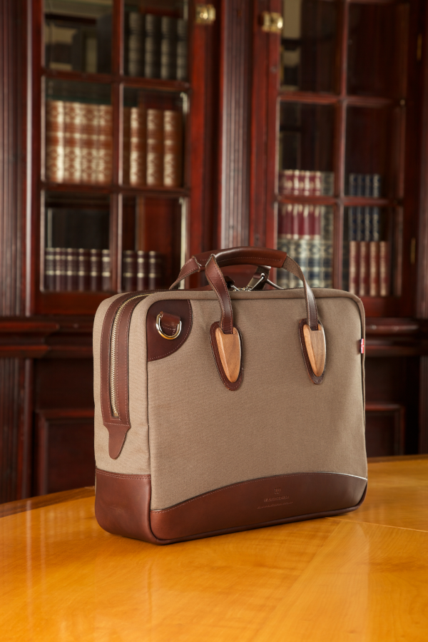 wrightbower brown canvas leather wood briefcase