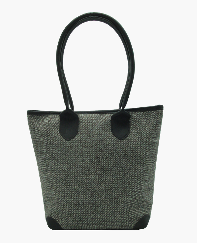tweed and leather tote bag