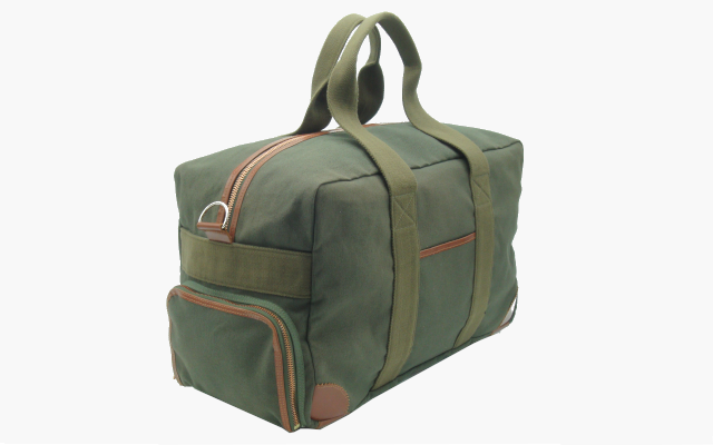 canvas holdall with leather trim